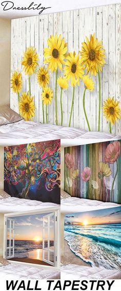 DressLily spring and summer wall tapestry ideas.- DressLily spring and summer wall tapestry ideas. DressLily spring and summer wall tapestry ideas. Diy Wall Art, Diy Art, Wall Decor, Fence Art, Yard Art, Wall Tapestry, Wall Murals, Art Projects, Furniture Projects