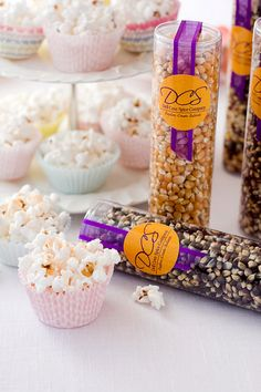 #Popcorn #corporate gifts & #wedding #favors - tasty guest gifts or ideal holiday treats for customers and clients - can customize labels with your logo for marketing your business! $7.95 for each tube. By Dell Cove Spice Co. (Photo by Selena Vallejo Photography)