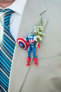 Groomsmen Captain America boutonniere