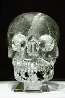 """The crystal skulls are a number of human skull hardstone carvings made of clear or milky quartz, known in art history as """"rock crystal"""", claimed to be pre-Columbian Mesoamerican artifacts by their alleged finders; however, none of the specimens made available for scientific study have been authenticated as pre-Columbian in origin. The results of these studies demonstrated that those examined were manufactured in the mid-19th century or later, almost certainly in Europe.["""