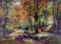 Waldlandschaft Mit Rehen oil painting by Heinrich Bohmer, The highest quality oil painting reproductions and great customer service! Landscape Illustration, Watercolor Landscape, Landscape Art, Landscape Paintings, Watercolor Art, Nature Paintings, Beautiful Paintings, Beautiful Landscapes, Pictures To Paint