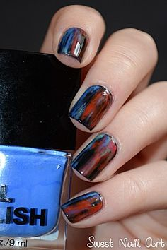 Grunge chic Acid Wash Nail Art by sweet nail art. I like these colors together.