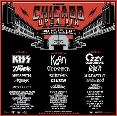 Chicago Open Air, 14 - 16 July, 2017: we will see both Amon Amarth and Stone Sour there on the last day!