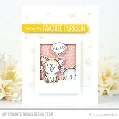 Wednesday Sketch Challenge - Sketch 497 – MFT Stamps You're My Favorite, My Favorite Things, Emotions Cards, Polka Dot Background, Balloon Animals, Mft Stamps, Cat Cards, Catio, Cards