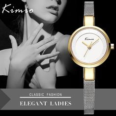 2d66dfca05f KIMIO Hot Elegant Mesh Bracelet Band Ladies Wristwatches Simple Design  Women Quartz Watch Gold Relogio Feminino With Gift Box