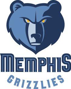 Memphis Grizzlies Primary Logo (2005) - A blue bear head above Memphis Grizzlies script
