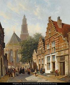 Elegant figures in a sunlit Dutch town - Adrianus Eversen