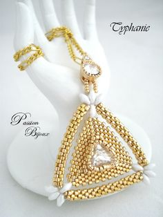 Beaded Triangle Pendant with super duos.