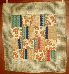 Hand stitched Civil War 19th C Homespun Calico Doll Quilt