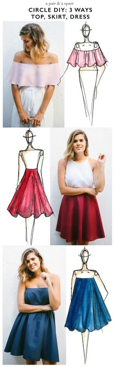 Sewing Dresses Make this DIY Circle Skirt, Top and Dress (Using the Same Easy Method!) - There's something so fun and feminine about that slight ruffle that comes with a circle. Try these DIY circle skirt, top and dress! Diy Clothing, Sewing Clothes, Clothing Patterns, Dress Patterns, Diy Dress, Dress Outfits, Do It Yourself Mode, Diy Circle Skirt, Circle Skirts