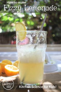 How to make Fizzy Lemonade – a tasty kids science project! Kids can learn about acid base reactions and see their drink Math Activities For Kids, Science Projects For Kids, Science For Kids, Kids Crafts, Kitchen Science, Food Science, Science Demonstrations, Homemade Lemonade Recipes, Anzac Biscuits