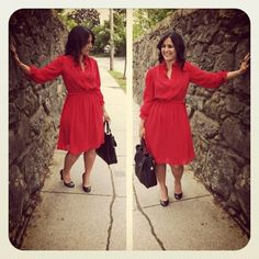 $3 red vintage dress. precious. |thrifted|
