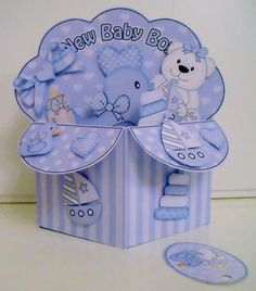 Card Gallery - 3D New Baby Boy Diagonal Rubber Band Pop Up Box Card