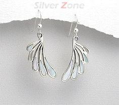 Cercei aripa din argint cu sidef alb 11-1-i29429