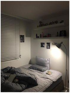 Bedroom Setup, Room Design Bedroom, Room Ideas Bedroom, Small Room Bedroom, Small Rooms, Bedroom Decor, Korean Bedroom Ideas, Messy Bedroom, Gray Bedroom