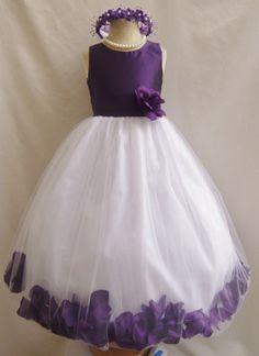 Flower Girl Dress PURPLE PETAL Wedding Children Easter Bridesmaid Communion