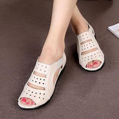 49326e5c9e3 Summer women s sandals Hollow leather Genuine shoes Soft bottom mom shoes  Large size elderly shoes