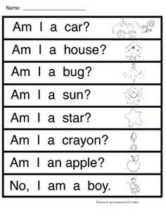 Am I   (worksheet to go along with sight word reader) Teaching Sight Words, Sight Word Practice, Sight Word Activities, Kindergarten Projects, Kindergarten Literacy, Starting Kindergarten, Preschool, Literacy Centers, Popcorn Words