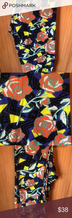 NWT TC LLR Electric Roses Print Leggings For sale is a NWT pair of LuLaRoe leggings in size TC (fits 12-22). This pair features a newly released print which I call Electric Roses! it has super pretty Red Roses overtop of a Black, Navy and Yellow Background. Super awesome looking pair!!! LuLaRoe Pants Leggings