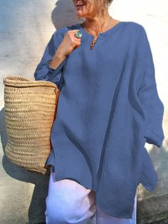 1a2b1601d0 Shop Blouses Shirts -Casual Cotton Solid Tops Long Sleeve Plus Size V-Neck  Blouse online