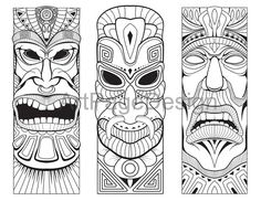 an idol, deity. Coloring pages for adults. Tiki Tattoo, Totem Tattoo, African Masks, African Art, Hannya Maske, Tiki Maske, Art Plastic, Tiki Faces, Tiki Head