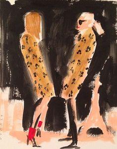 Karl Lagerfeld  Carine Roithfeld, by Donald Drawbertson. Fashion illustration.