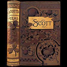 1885 SIR WALTER SCOTT POEMS RARE ILLUSTRATED VICTORIAN FINE BINDING ENGRAVINGS