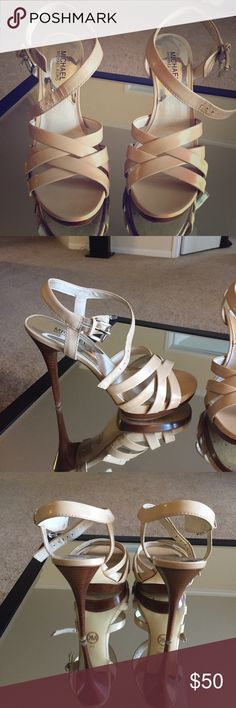 MK Keli Sandals Good condition! Nude leather platform sandals by Michael Kors. Heel is ~4.5 in with 1in wooden platform. Size 8. Fits true to size MICHAEL Michael Kors Shoes Sandals