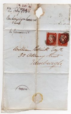 1846 Part Cover To Edinburgh With 1d Red Imperf Pair See Scans For Detail Etc   eBay