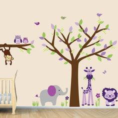 Repositionable Jungle Wall Decals for Kids by NurseryDecalsNMore Tree Decal Nursery, Tree Decals, Jungle Wall Stickers, Nursery Wall Stickers, Childrens Wall Decals, Kids Room Wall Decals, Leaf Animals, Jungle Tree, Purple Trees