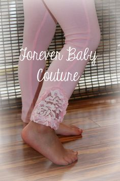 Girl Leggings  Pink Cotton Lace Girl by ForeverBabyCouture on Etsy, $18.99