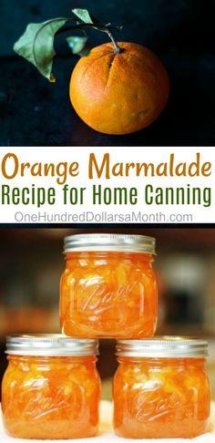 Canning 101 - Orange Marmalade Recipe - One Hundred Dollars a Month Dose 101 - Orangenmarmelad Jelly Recipes, Jam Recipes, Cooking Recipes, Cooking Food, Drink Recipes, Home Canning Recipes, Canning 101, Pressure Canning, Carrot Cake Jam