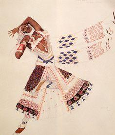 Leon Bakst. Эскиз костюма баядерки. Costume of a Bayadere. Sketch.