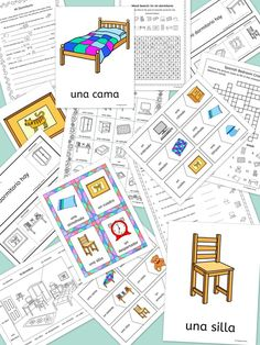 llamas spanish bedroom vocabulary mi dormitorio flashcards word