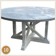 """Zinc Top Table with Painted Double 'XX' Base  60"""" round"""