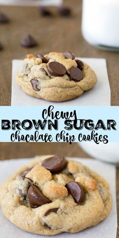 Chewy Brown Sugar Chocolate Chip Cookies - easy recipe for perfectly soft and chewy chocolate chip cookies. No chilling or unusual ingredients required!