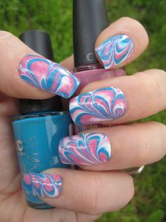 As promissed! More nail designs in my Etsy shop!  Bubble Gum Pink Blue & White Marbled Nail Art  Set by emineegoods, $20.00