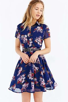 Lucca Couture Floral Shirt Dress - Urban Outfitters
