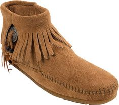 Women's+Minnetonka+Bootie+with+Concho+-+Brown+Suede+with+FREE+Shipping+&+Exchanges.+The+Bootie+with+Concho+features+southwestern+styling+with+decorative+