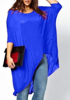 Casual Scoop Neck Solid Color High-Low Hem Plus Size 3/4 Sleeve T-Shirt For Women