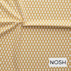 """Stoff grafische Muster - Bio Jersey """"Diamant"""" Gelb/Off-White NOSH - ein Designerstück von stoffbuero bei DaWanda"""