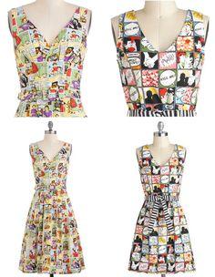 Retro style comic printed dresses: http://geekpinata.tumblr.com/post/46005848521/geek-fashion-friday-retro-style-comic-print