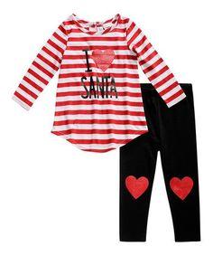 Red & White Stripe 'Santa' Tunic & Leggings - Infant & Toddler