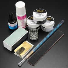 Acrylic Powder Primer Brush Pen Dish Forms Buffer File Nail Art Set