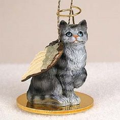 Shorthaired Silver Cat Angel Ornament