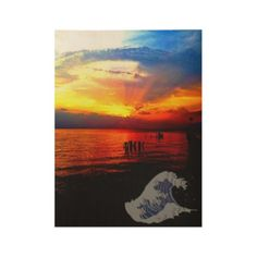 Beautiful Real Sunset Photography Wood Poster - beauty gifts stylish beautiful cool