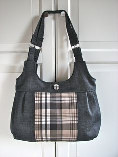 Pleated Shoulder Bag in Black Denim with Beige and by bluecalla