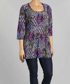Purple Abstract Tunic - Plus