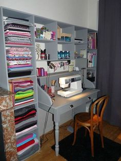 Coin couture - Le petit monde de Pauline - Sewing corner - The little world of Pauline - Sewing Room Storage, Sewing Room Design, Craft Room Design, Sewing Spaces, Sewing Room Organization, Craft Room Storage, Sewing Studio, Small Sewing Rooms, Craft Rooms