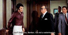 Elvis Presley and Robert Emhardt in Change Of Habit, 1969.